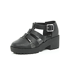 Girls black chunky shoes