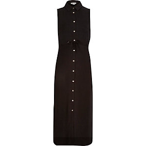 Girls black sleeveless maxi shirt dress