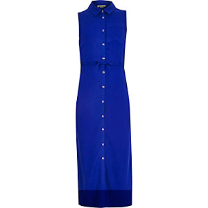 Girls blue sleeveless maxi shirt dress