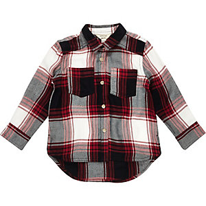 Mini girls red check shirt