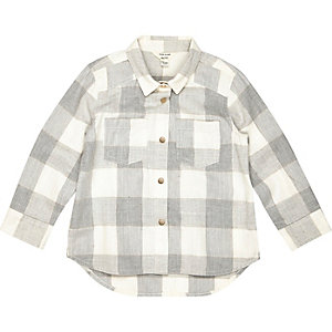 Mini girls grey check shirt