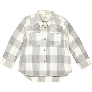 Mini girls grey check shirt