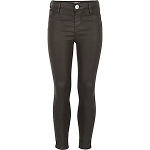 Girls black coated Molly jeggings