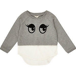 Mini girls grey big eyes jumper