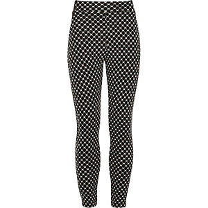 Girls black diamond print leggings