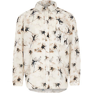 Girls white floral print shirt