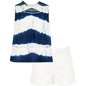 Girls blue tie dye t-shirt shorts outfit