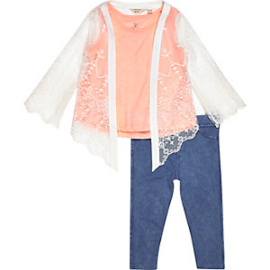 Mini girls lace cardigan top leggings outfit