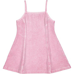 Mini girls denim-look strappy dress