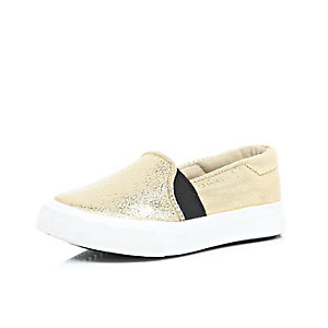 Mini girls metallic gold slip on plimsolls