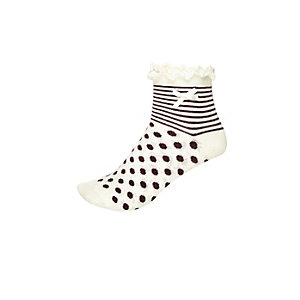 Girls cream stripe spot frill socks