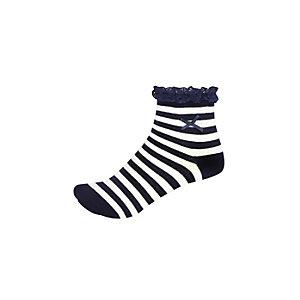 Girls navy stripe frilly socks