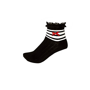 Girls black striped socks