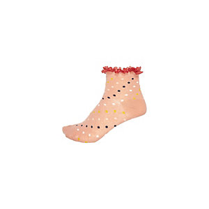 Girls coral polka dot frilly socks