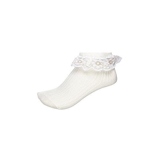 Girls cream sparkle frill socks