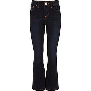 Girls dark blue wash flared jeans