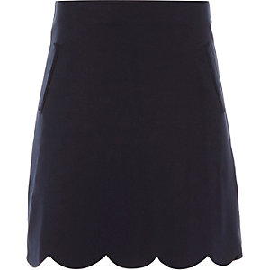 Girls navy scallop edge A-line skirt