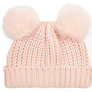 Mini girls pink double pom pom beanie hat