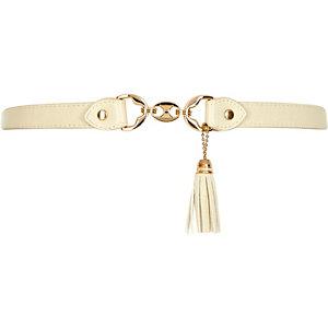 Girls cream tassel belt
