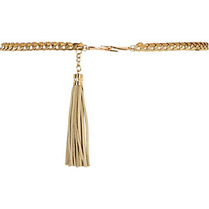 Girls metallic tassel chain belt