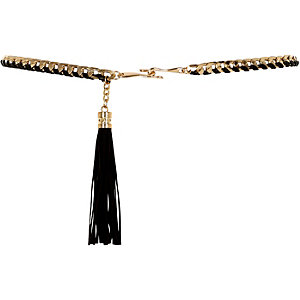 Girls black tassel chain belt