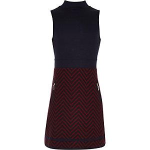 Girls navy A-line zig zag dress