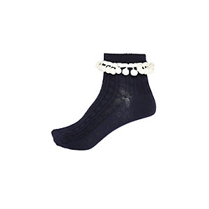Girls navy pom pom ankle socks