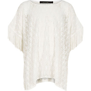 Girls cream lace kaftan