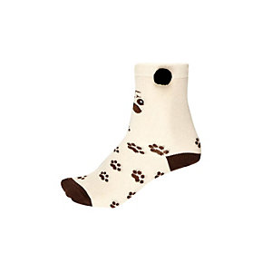 Girls cream pug novelty socks