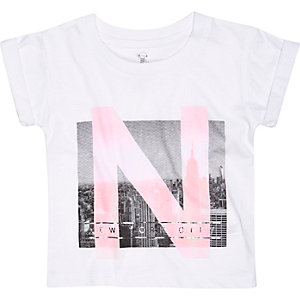 Mini girls white New York print t-shirt