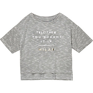 Mini girls grey Milan print t-shirt