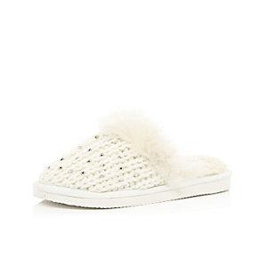 Girls cream gem embellished slippers