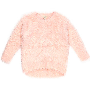 Mini girl pink fluffy jumper