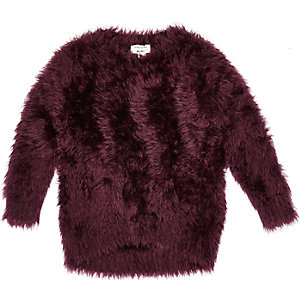 Mini girls purple soft textured jumper