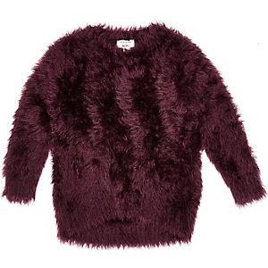 Mini girls purple soft textured jumper