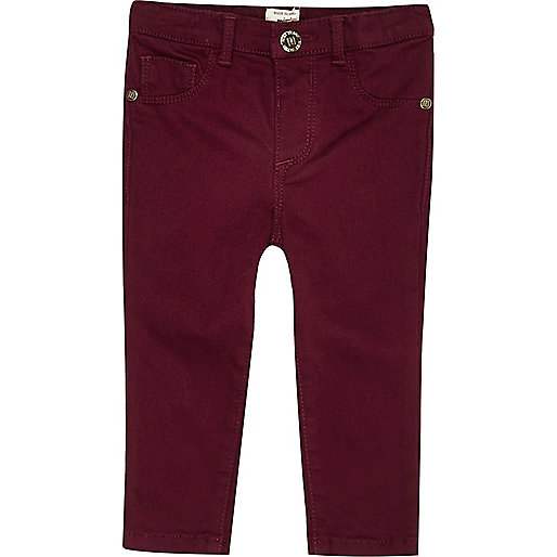 Mini girls berry red denim jeans