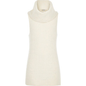 Girls cream zip side cowl neck jumper