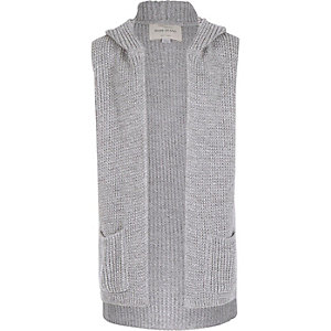 Girls grey hooded sleeveless cardigan