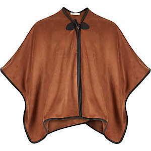Girls brown faux-suede cape