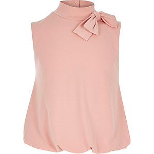 Girls light pink bow side bubble top