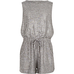 Girls silver cowl back playsuit