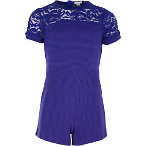 Girls blue ribbed lace panel playsuit