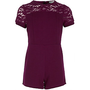 Girls red ribbed lace panel playsuit