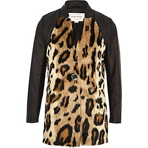 Girls brown leopard print jacket