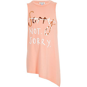 Girls pink sorry not sorry print tank top