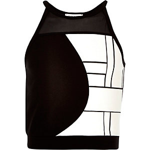 Girls black abstract print crop top