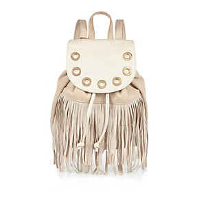 Girls cream fringed backpack
