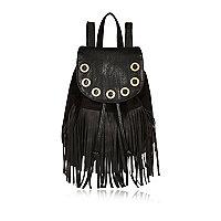 Girls black fringed backpack