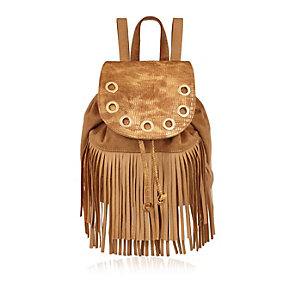 Girls tan brown fringed backpack