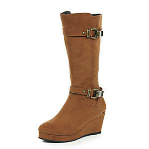 Girls brown knee high wedge boots